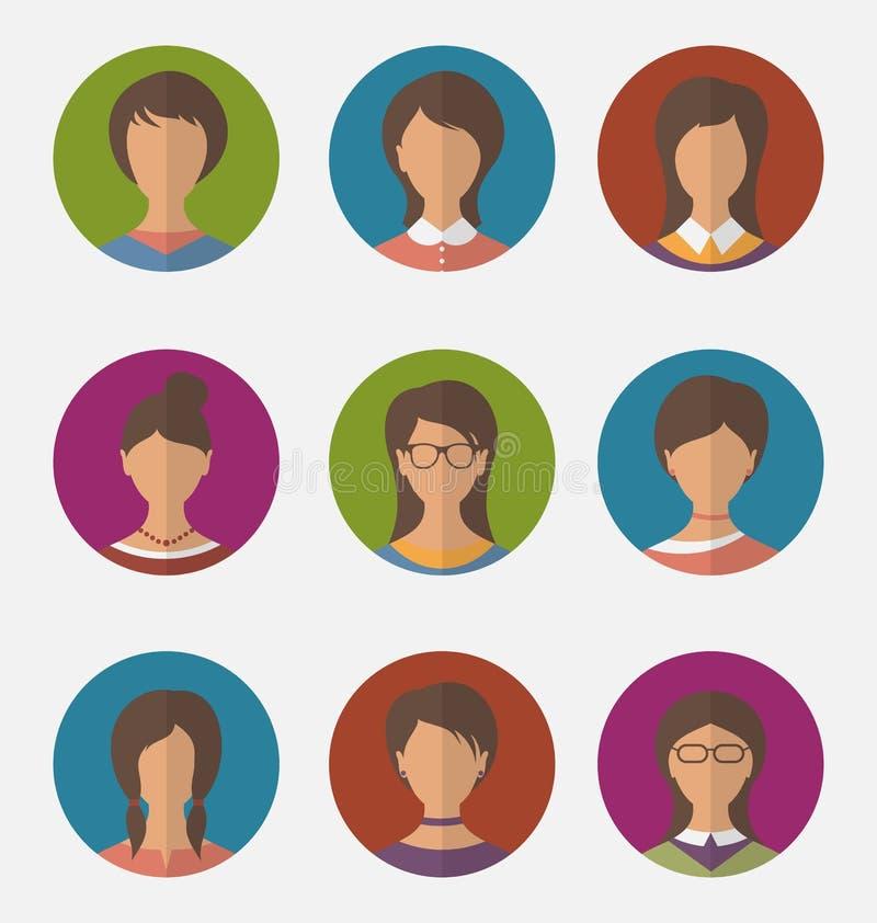 As caras fêmeas coloridas ajustadas circundam ícones, estilo liso na moda ilustração royalty free
