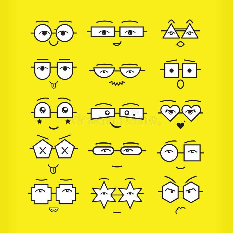 As caras pretas bonitos dos emoticons com ícones geométricos dos monóculos ajustaram-se no fundo amarelo ilustração royalty free