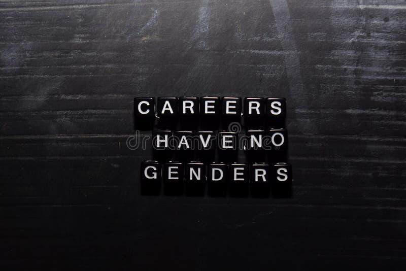 As carreiras não têm nenhum gênero em blocos de madeira Conceito da educa??o, da motiva??o e da inspira??o ilustração stock