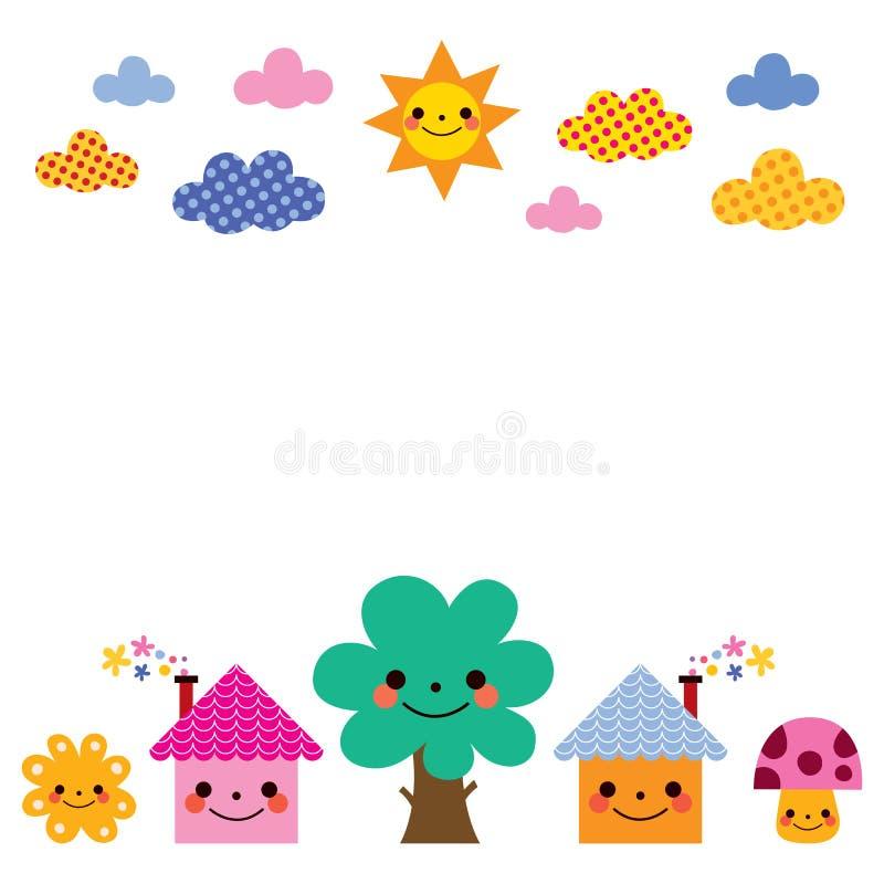 As casas bonitos, árvore, sol, cogumelo, nublam-se a ilustração do fundo das crianças ilustração do vetor