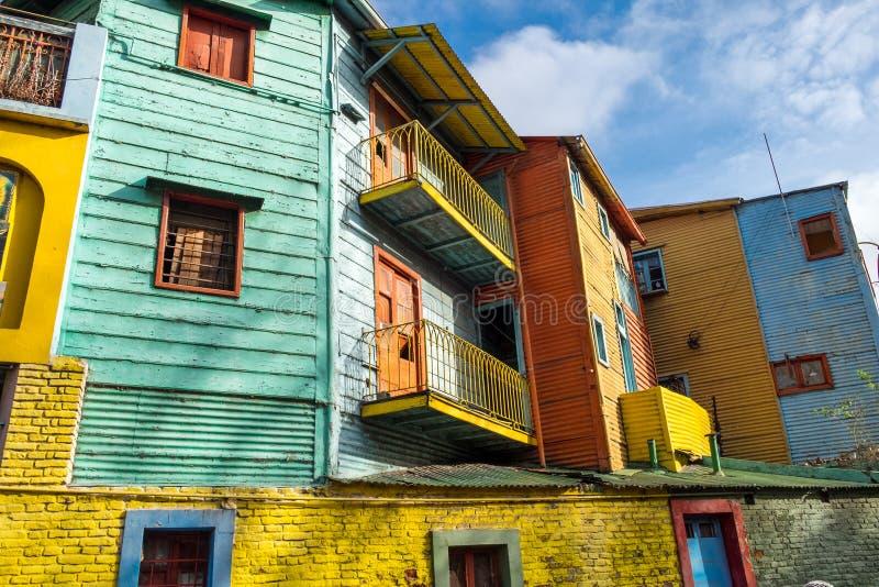 As casas coloridas da rua de Caminito no La Boca imagens de stock