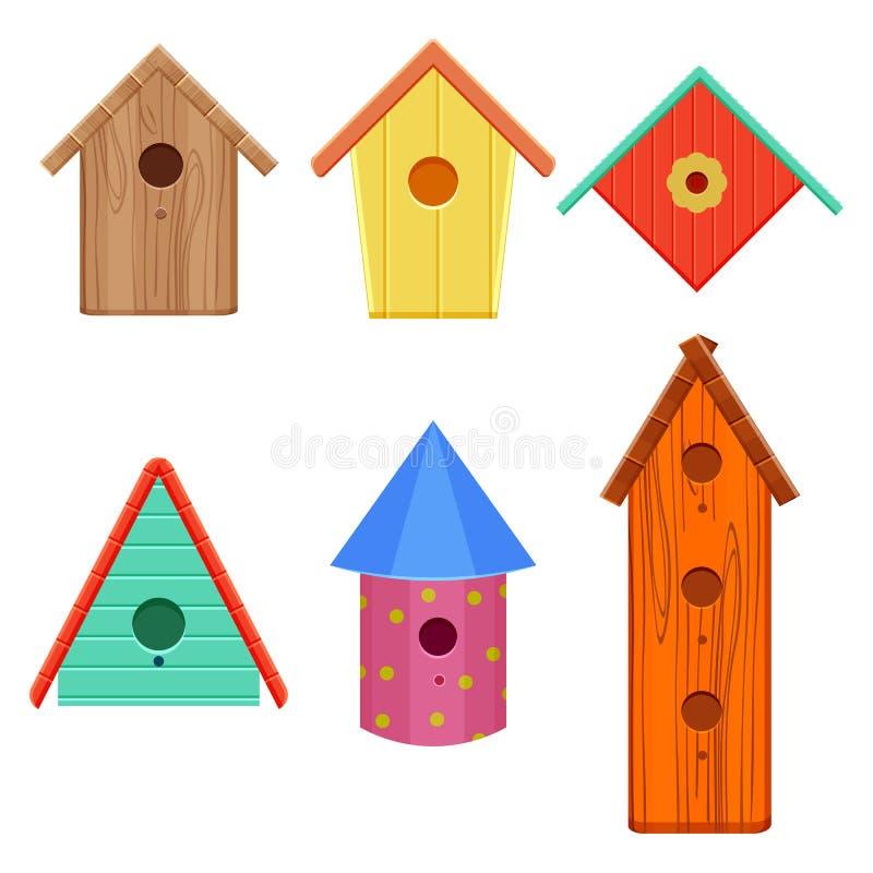 As casas coloridas do pássaro ajustaram a ilustração do vetor isolada no fundo branco ilustração do vetor