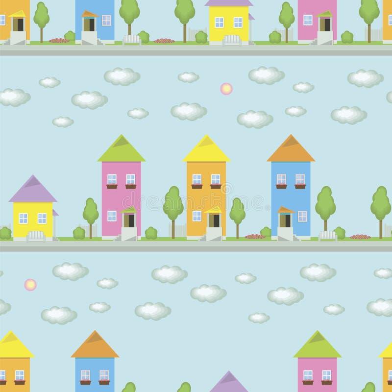 As casas coloridos pequenas com janelas em um fundo azul de uma rua com árvores verdes cobrem caixas da flor dos bancos com flore ilustração royalty free