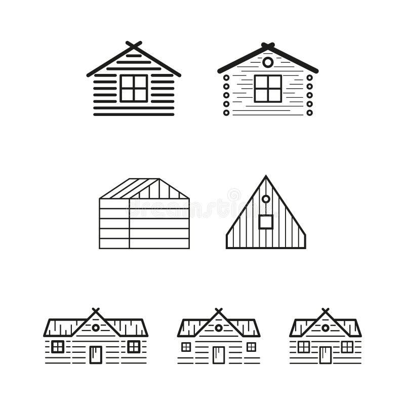 As casas de madeira mostram em silhueta o logotipo do vetor ilustração royalty free