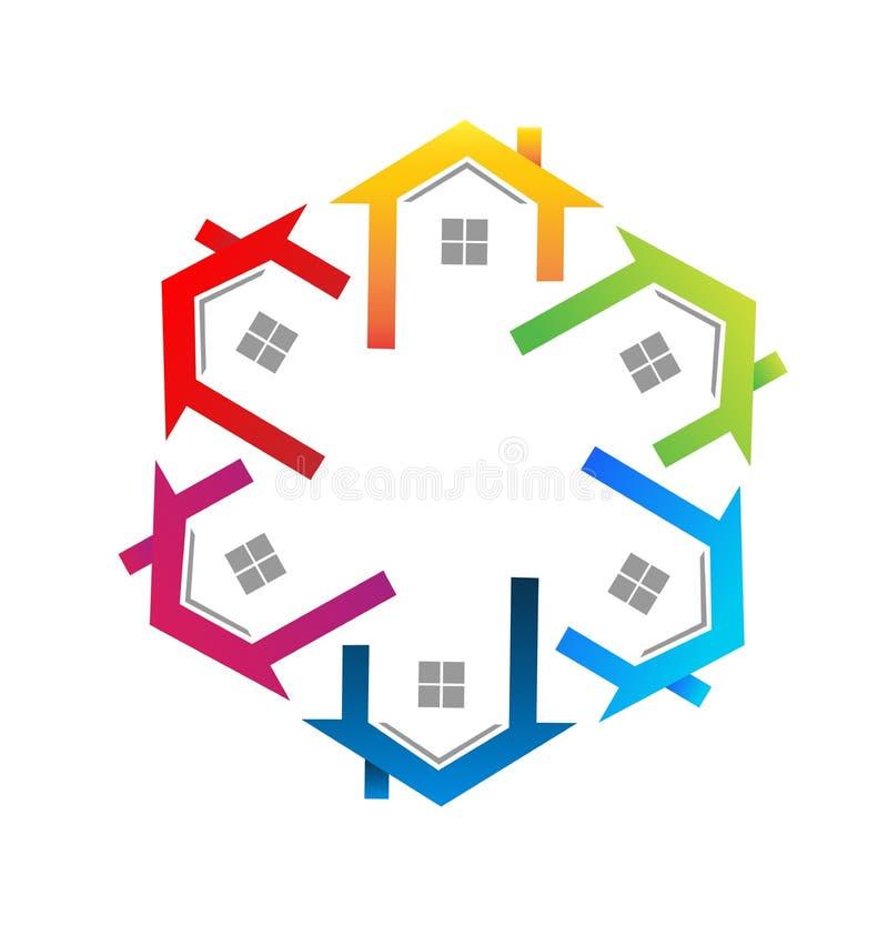 As casas team o grupo de círculo, logotipo do vetor dos bens imobiliários ilustração royalty free
