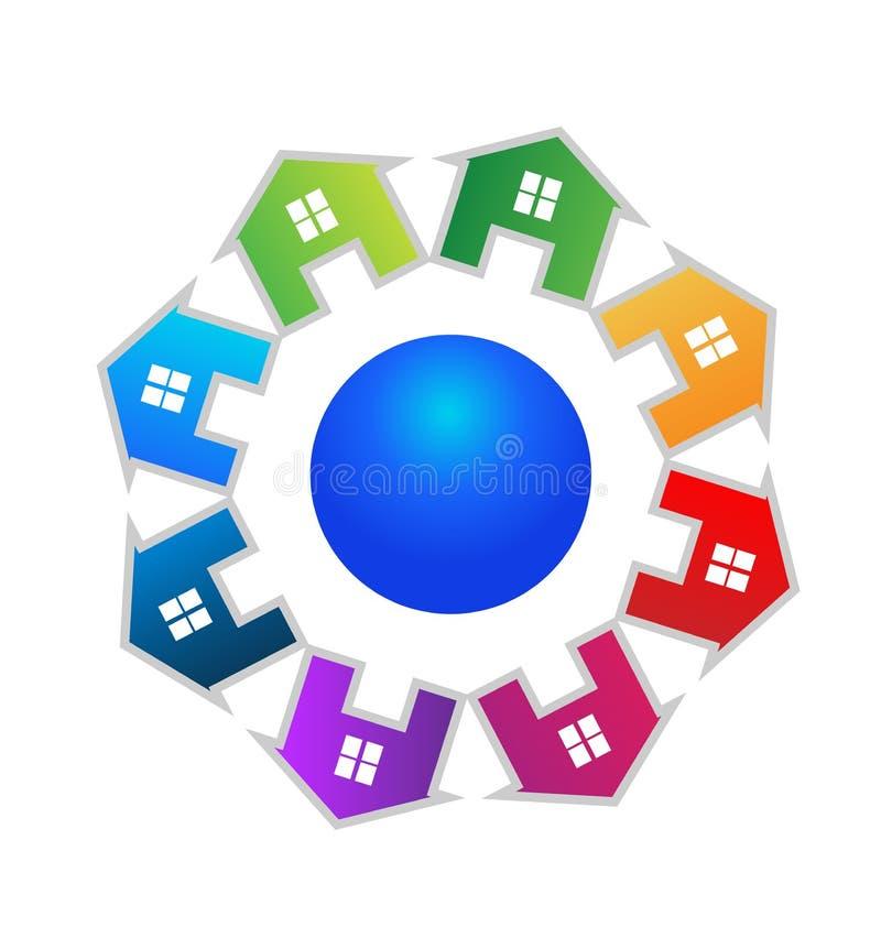 As casas team o grupo de círculo, logotipo do vetor dos bens imobiliários ilustração do vetor