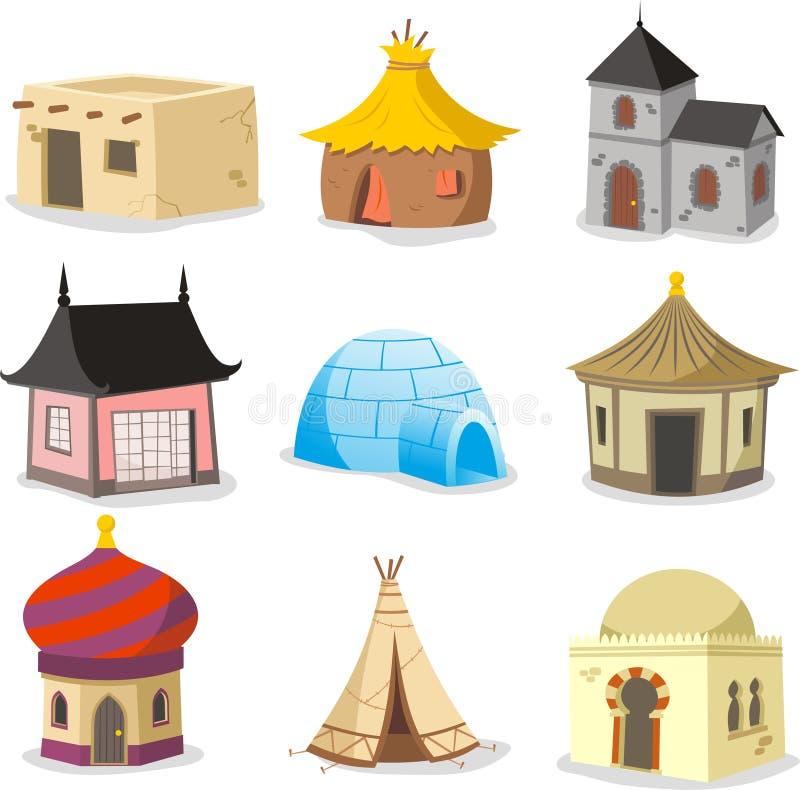 As casas tradicionais abrigam a casa de campo Ca do armário do precário da barraca da cabana do iglu ilustração stock