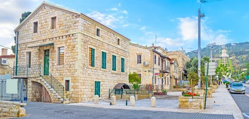 As casas velhas em Haifa fotografia de stock