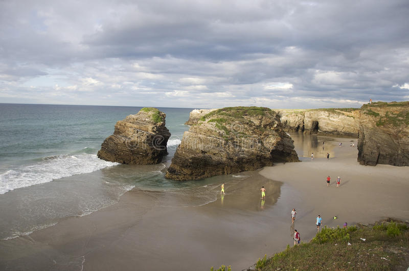 As Catedrais beach, Spain. As Catedrais beach translates as 'Beach of the Cathedrals'. It is the turistic name of Praia de Augas Santas ('Beach of the Holy royalty free stock images
