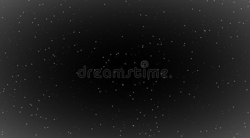 As cenas da noite, brilhando protagonizam na noite, fundo preto com estrelas brilhantes noite impressionante brilho da gal?xia ilustração do vetor