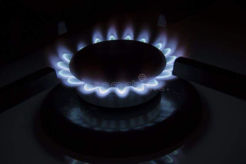 As chamas azuis do hob ardente do fogão de gás fecham-se acima na obscuridade em um blac fotografia de stock