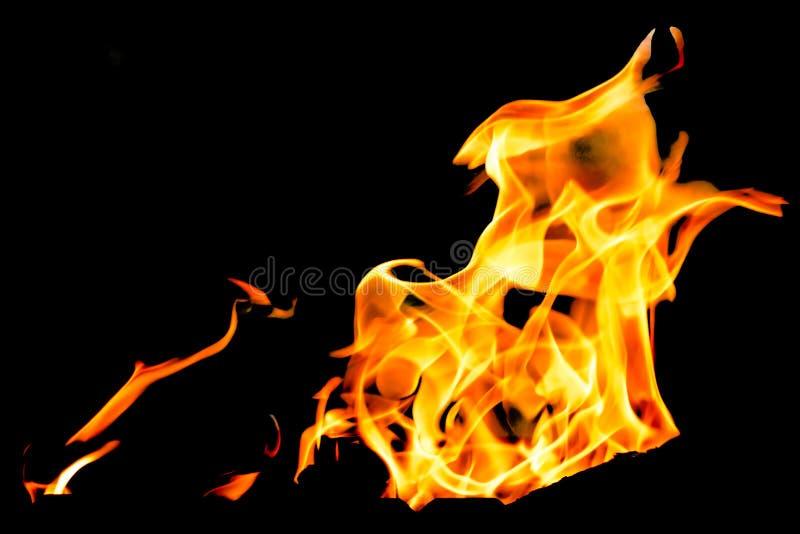 As chamas do fogo em um fundo preto fotos de stock royalty free