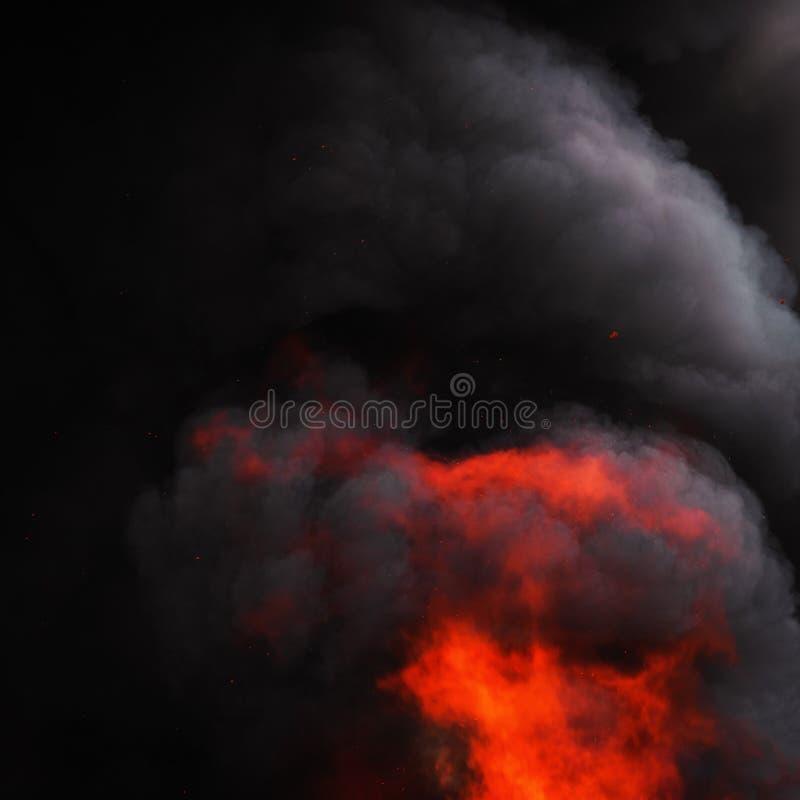 As chamas do fogo vermelho e do movimento borram nuvens dramáticas fumo preto do céu coberto fotografia de stock royalty free