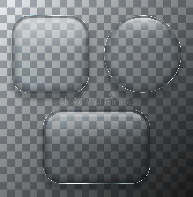 As chapa de vidro transparentes modernas do vetor ajustaram-se no fundo da amostra ilustração do vetor