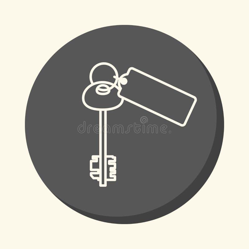 As chaves ao apartamento onde o dinheiro está, o ícone linear circular com a ilusão do volume, uma mudança simples da cor ilustração do vetor