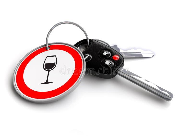 As chaves do carro com vidro de vinho assinam no keyring Conceito para a condução em estado de embriaguês ilustração do vetor