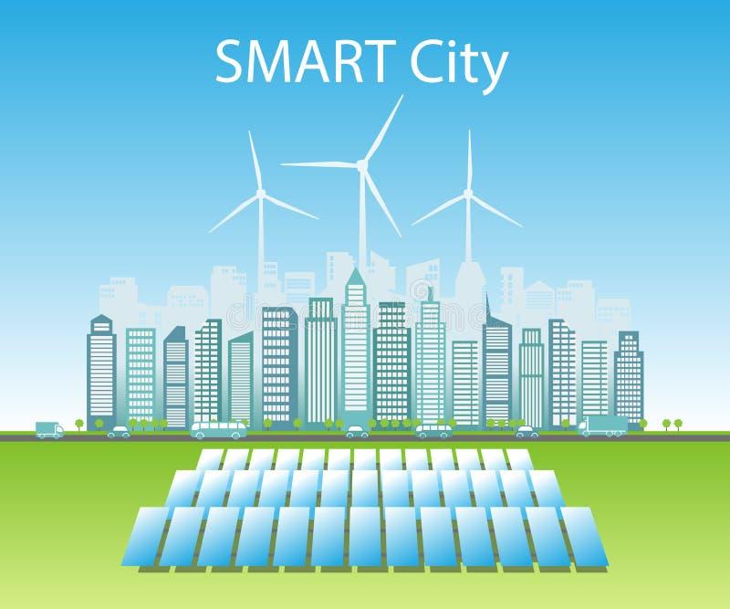 As cidades espertas consomem fontes de energia naturais alternativas ilustração royalty free