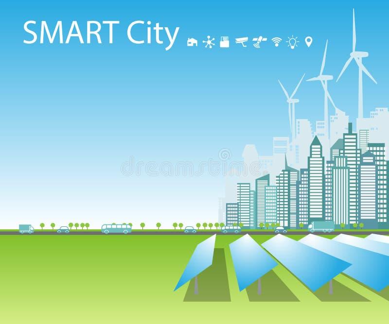 As cidades espertas consomem fontes de energia naturais alternativas, fundo, lugar para o texto ilustração do vetor
