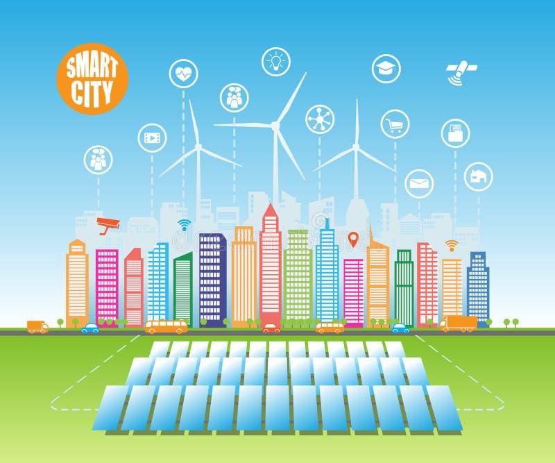 As cidades verdes espertas consomem fontes de energia naturais alternativas com serviços inteligentes avançados, e a realidade au ilustração stock