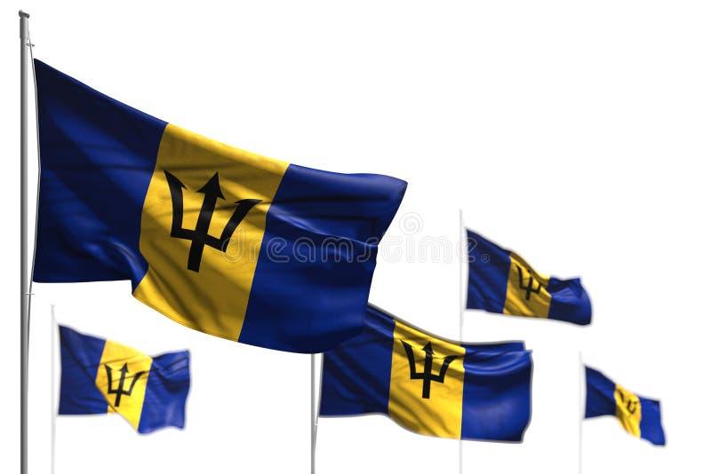 As cinco bandeiras bonitos de Barbados são acenar isolado em branco - foto com foco seletivo - toda a ilustração da bandeira 3d d ilustração stock