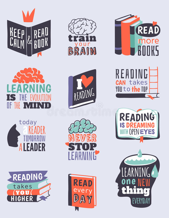 As citações da motivação da leitura fraseiam a ilustração do vetor da bolha do logotipo do crachá ilustração stock