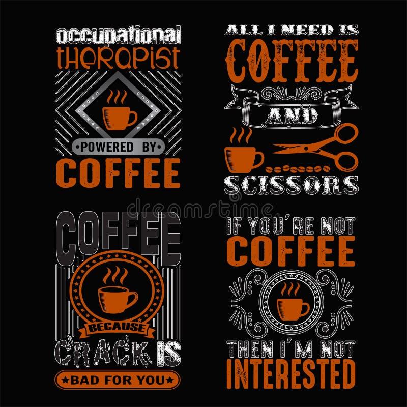 As citações do café e dizer ajustaram-se bom para a cópia imagens de stock