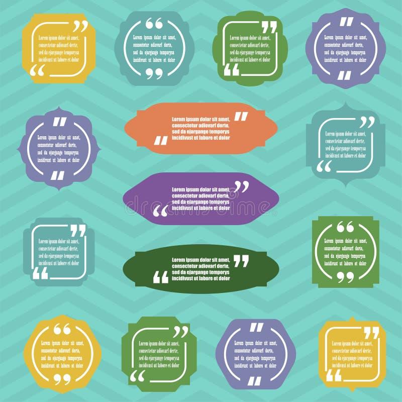 As citações modernas do bloco e as citações da tração projetam elementos Molde criativo do texto das citações Ilustração EPS10 do ilustração royalty free