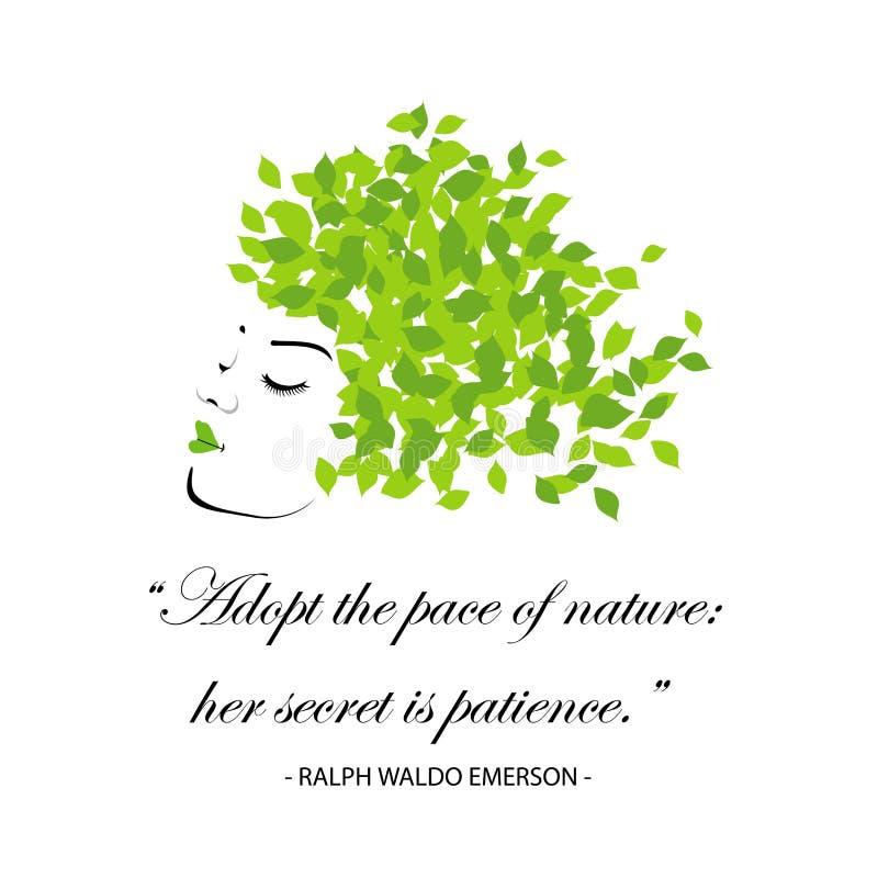 As citações para a natureza adotam o ritmo da natureza, seu segredo são paciência ilustração royalty free