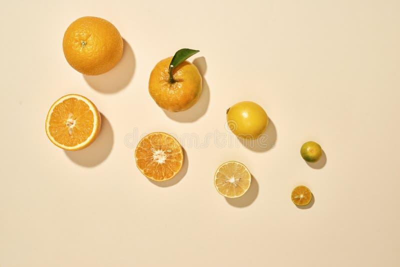 As citrinas estão em um fundo branco O Kumquat, limão, o mandarino, laranja está no fundo pastel - imagem fotos de stock