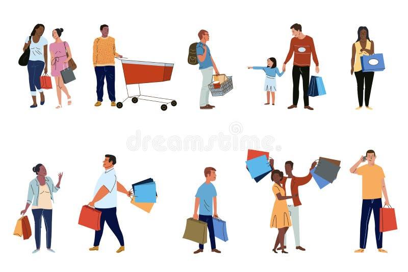As clientes dos povos ajustaram o grupo liso dos caráteres do vetor ilustração do vetor