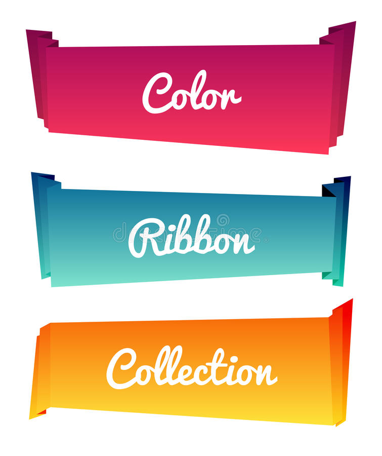 As coleções longas do rolo de papel colorido projetam no fundo branco, ilustração do vetor Fitas da cor ilustração royalty free