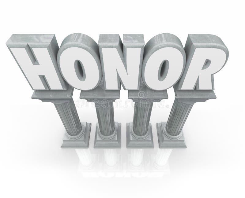 As colunas de mármore da pedra da palavra da honra 3d respeitam o respeito ilustração stock