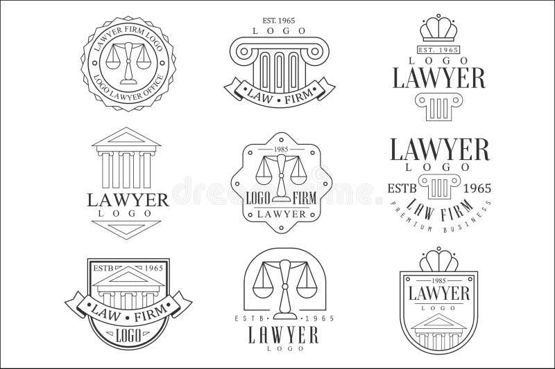 As colunas de Office Logo Templates With Classic Ionic da empresa de advocacia e do advogado, frontões equilibram silhuetas ilustração stock