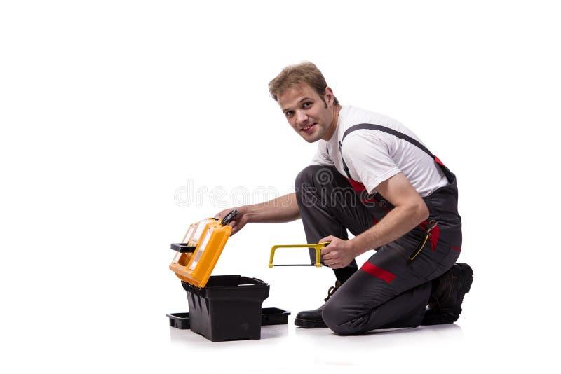 As combinações vestindo do trabalhador da construção novo isoladas no branco foto de stock royalty free