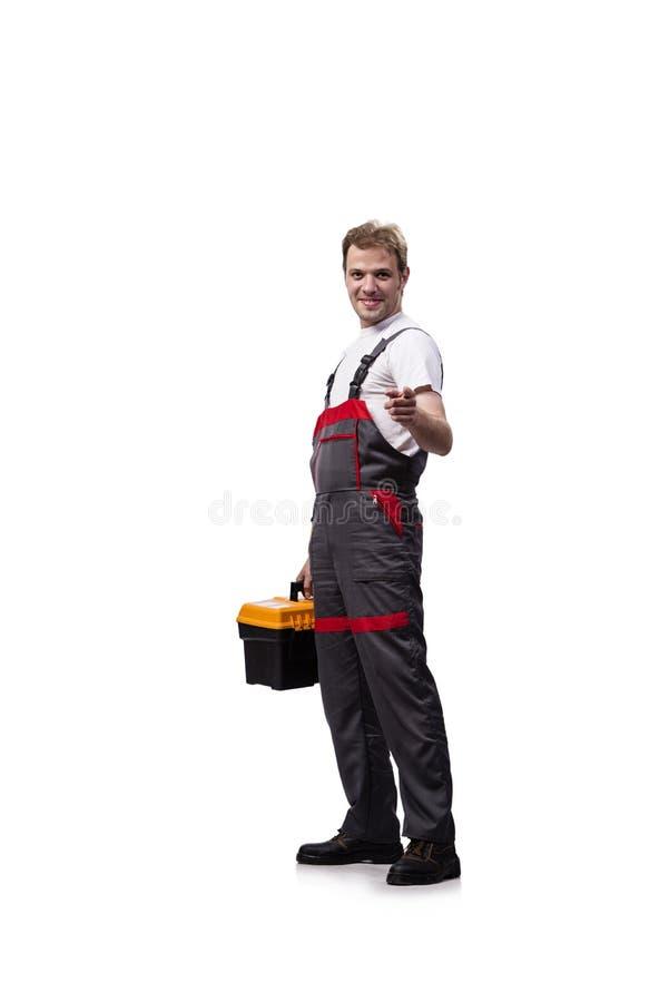 As combinações vestindo do trabalhador da construção novo isoladas no branco imagens de stock royalty free