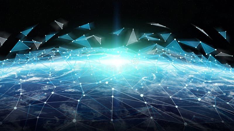 As conexões sistema e as trocas de dados na terra 3D do planeta rendem ilustração royalty free