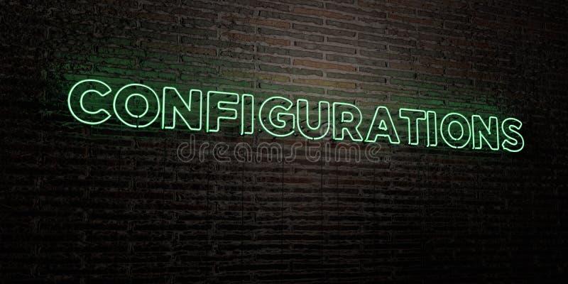 As CONFIGURAÇÕES - sinal de néon realístico no fundo da parede de tijolo - 3D renderam a imagem conservada em estoque livre dos d ilustração royalty free