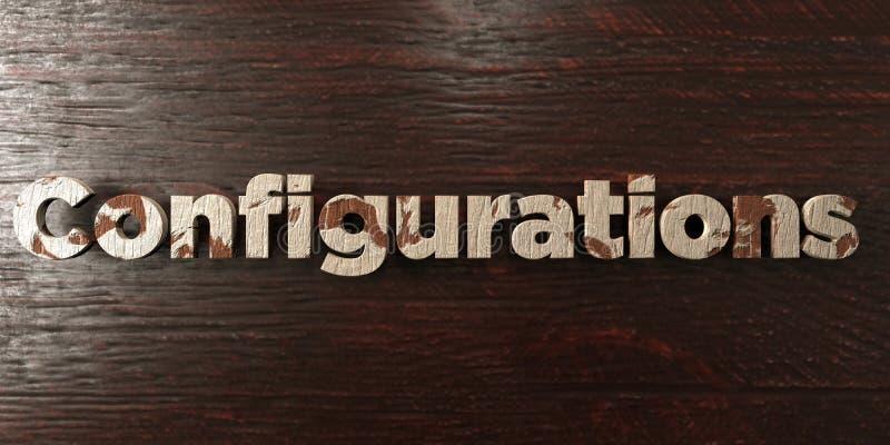 As configurações - título de madeira sujo no bordo - 3D renderam a imagem conservada em estoque livre dos direitos ilustração stock