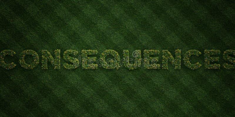 As CONSEQÜÊNCIAS - letras frescas da grama com flores e dentes-de-leão - 3D renderam a imagem conservada em estoque livre dos dir ilustração stock