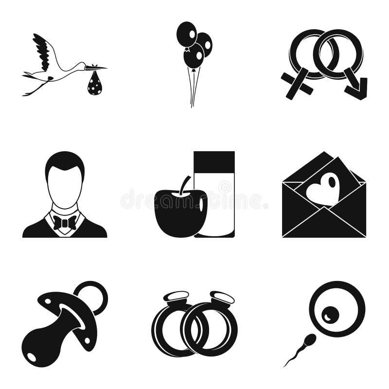 As consequências de ícones do sexo ajustaram-se, estilo simples ilustração do vetor