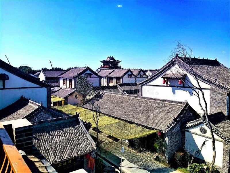 As construções arcaísticas com características chinesas foto de stock