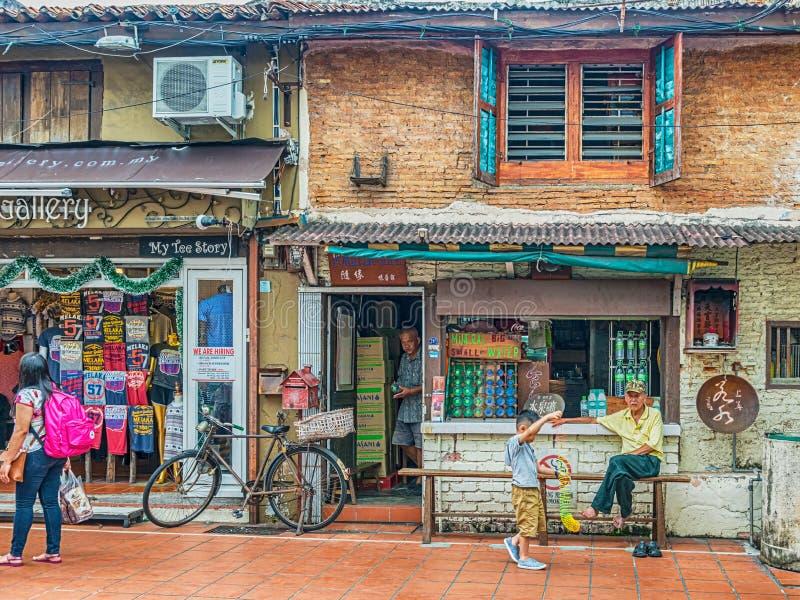 As construções coloniais velhas ao longo de Jonker andam em Malacca, Malásia fotografia de stock