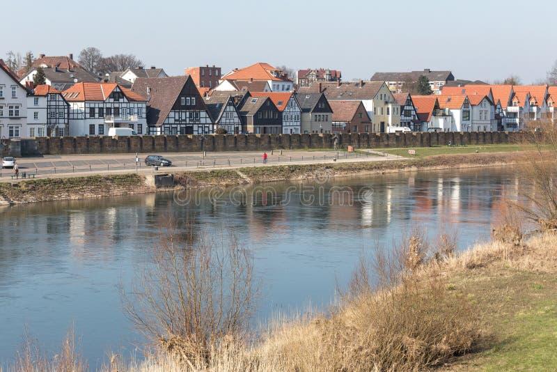 as construções da margem minden Alemanha imagens de stock