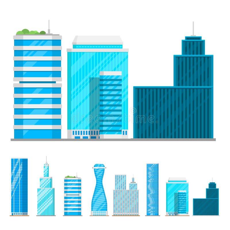 As construções dos arranha-céus isolaram a ilustração do vetor do apartamento do negócio da casa da arquitetura da cidade do escr ilustração stock