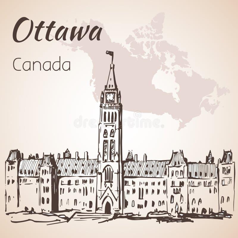 As construções góticos Ottawa do parlamento do renascimento e mapa ilustração royalty free
