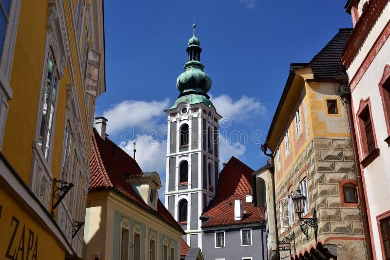 As construções históricas de Cesky Krumlov, UNESCO protegeram o local imagem de stock royalty free