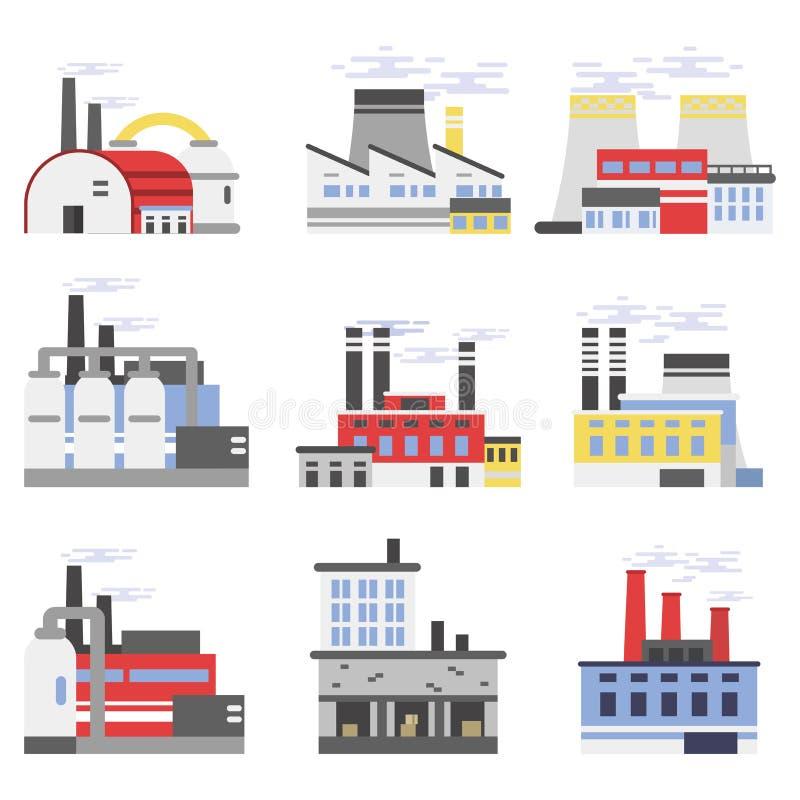 As construções industriais do manufactory ajustaram-se, poder e central química, ilustrações do vetor da fábrica ilustração stock