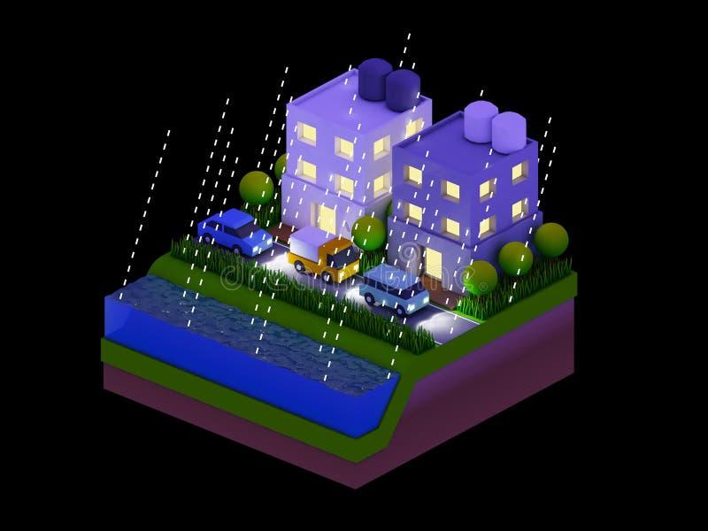 As construções isométricas da cidade, a paisagem, a estrada e o rio, noite scen ilustração do vetor