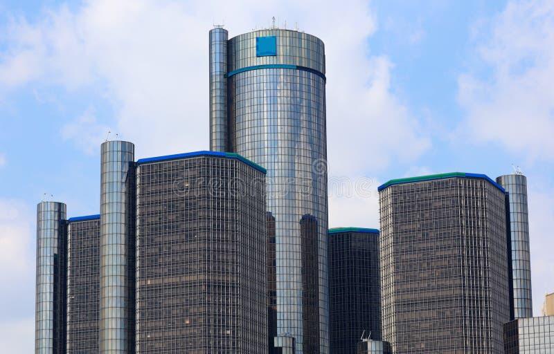 As construções as mais altas da cidade do motor da skyline de Detroit em Michigan imagens de stock royalty free