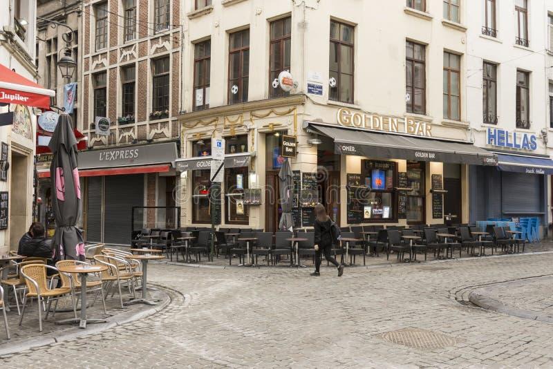 As construções tradicionais em Bruxelas do centro imagens de stock